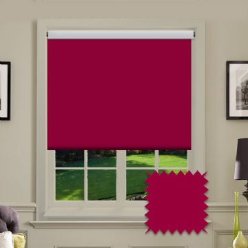 Red Plain Roller Blind in Carnival Ruby FR / Antibacterial fabric